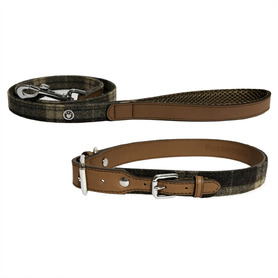 """Rosewood Luxury Leather Forest Tweed Check Lead / 40x3/4"""""""